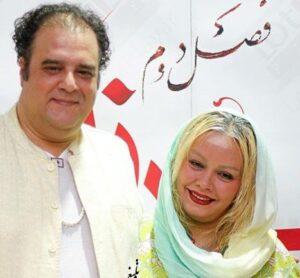 هومن برق نورد با لباس و کت سفید در کنار همسرش