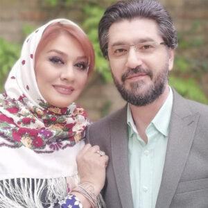 تیپ رسمی امیرحسین مدرس و همسرش با روسری ترکمن