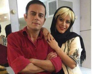 رحیم نوروزی با پیرهن قرمز در کنار همسرش