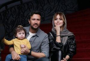 شاهرخ استخری با تیپ اسپرت و همسرش سپیده بزمی پور و فرزندشان
