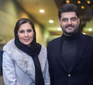 تیپ مشکی سام درخشانی در کنار همسرش عسل امیرپور