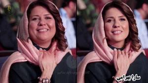 سارا بهرامی با شال صورتی - بازیگران ایرانی اگر چاق بودند