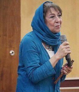 تیپ آبی هایده حائری بازیگر 66 ساله