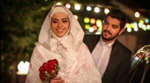 ریحانه پارسا با لباس عروس در کنار سینا مهراد در سریال پدر