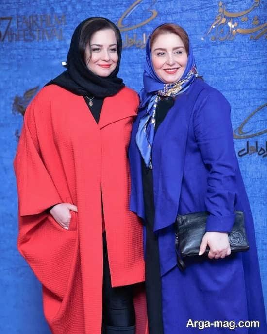 ژاله صامتی با مانتو آبی و مهراوه شریفی نیا با مانتو قرمز - مدل مانتو بازیگران چاق ایرانی