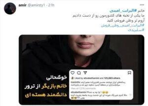 خشم کاربران فضای مجازی برای کامنت جنجالی الیزابت امینی