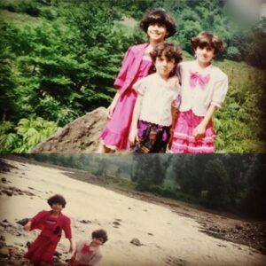 عکس کودکی بهارک صالح نیا با خواهرانش