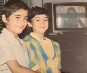 عکس کودکی بهاره افشاری و برادرش بابک