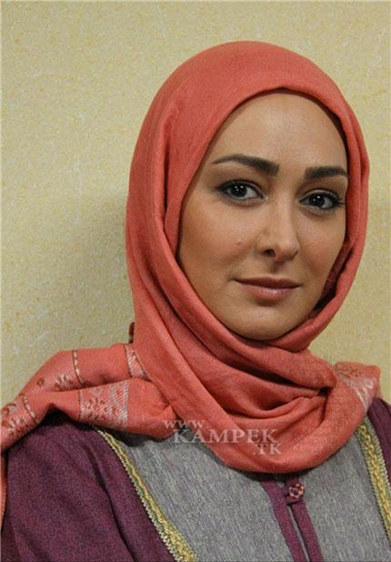 الهام حمیدی با شال نارنجی - عکس های بدون آرایش الهام حمیدی