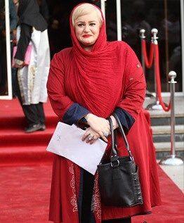 نعیمه نظام دوست با مانتو قرمز - مدل مانتو بازیگران چاق ایرانی