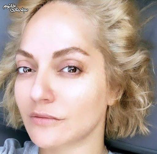 مهناز افشار بی حجاب و بدون آرایش با موی بلوند