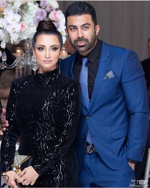 روناک یونسی بی حجاب با همسرش محسن میری در میهمانی