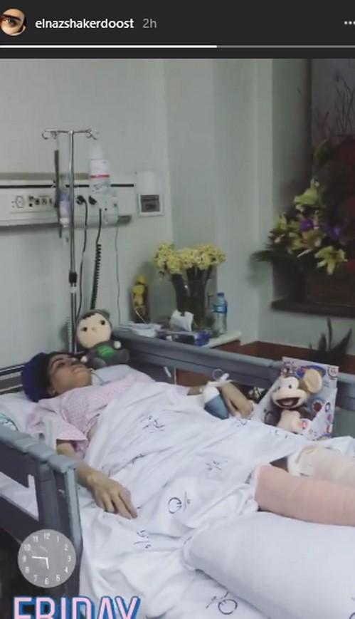 الناز شاکردوست در بیمارستان - فیلم حادثه الناز شاکردوست
