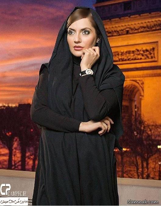 مهناز افشار مدل تبلیغاتی ساعت با لباس مشکی