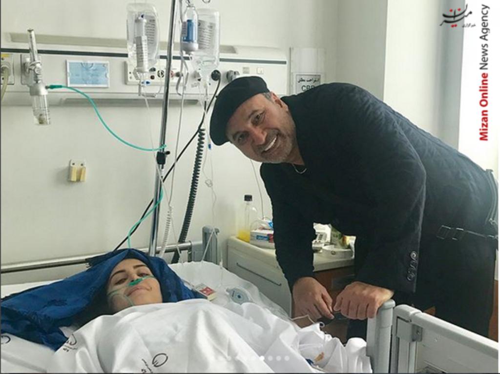 الناز شاکردوست و حمید فرخ نژاد در بیمارستان - فیلم حادثه الناز شاکردوست