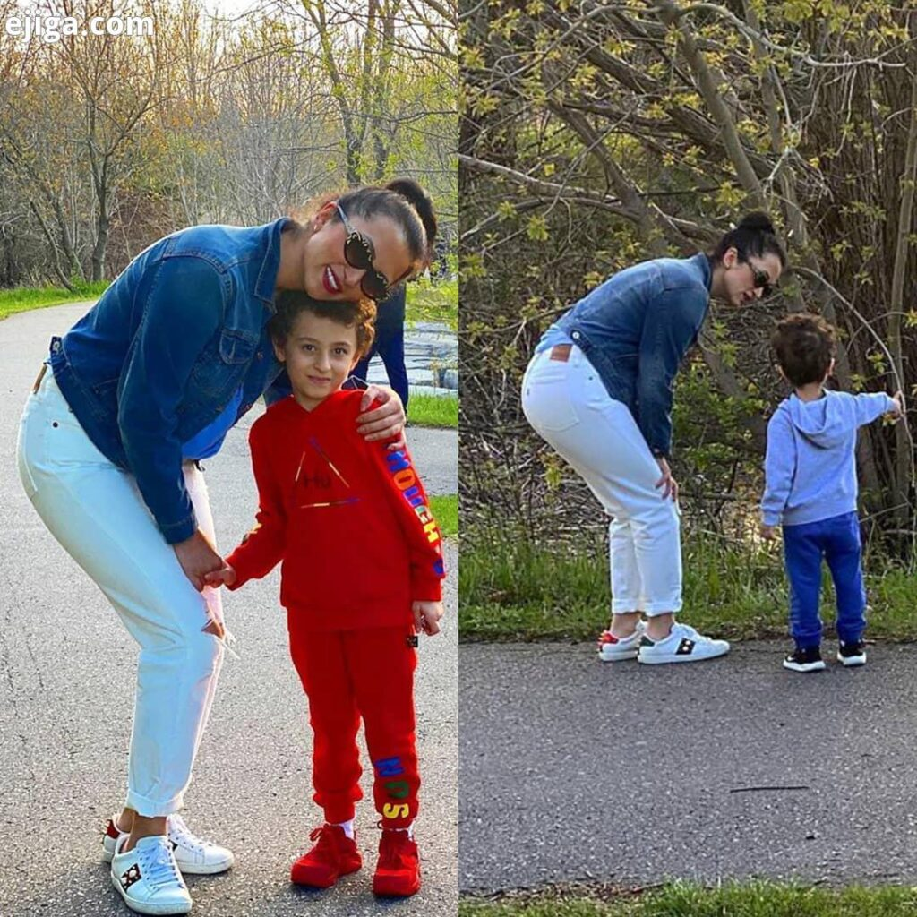 روناک یونسی بی حجاب با کاپشن جین و پسرش