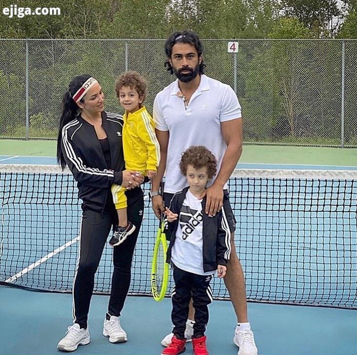 روناک یونسی بی حجاب با همسرش محسن میری و پسرانش با لباس ورزشی