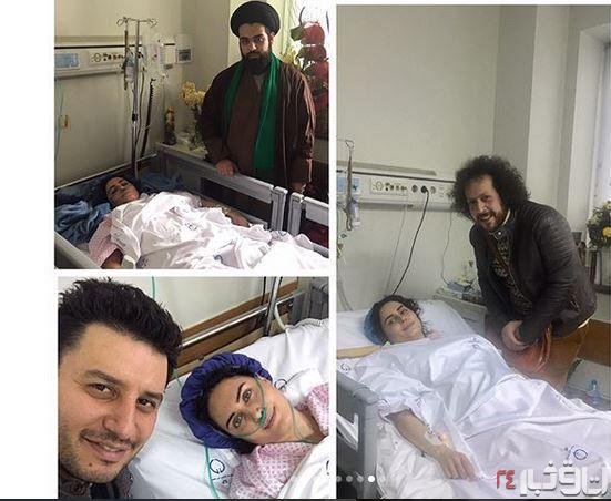 الناز شاکردوست و جواد عزتی در بیمارستان - فیلم حادثه الناز شاکردوست