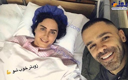 الناز شاکردوست و سیروان خسروی در بیمارستان - فیلم حادثه الناز شاکردوست