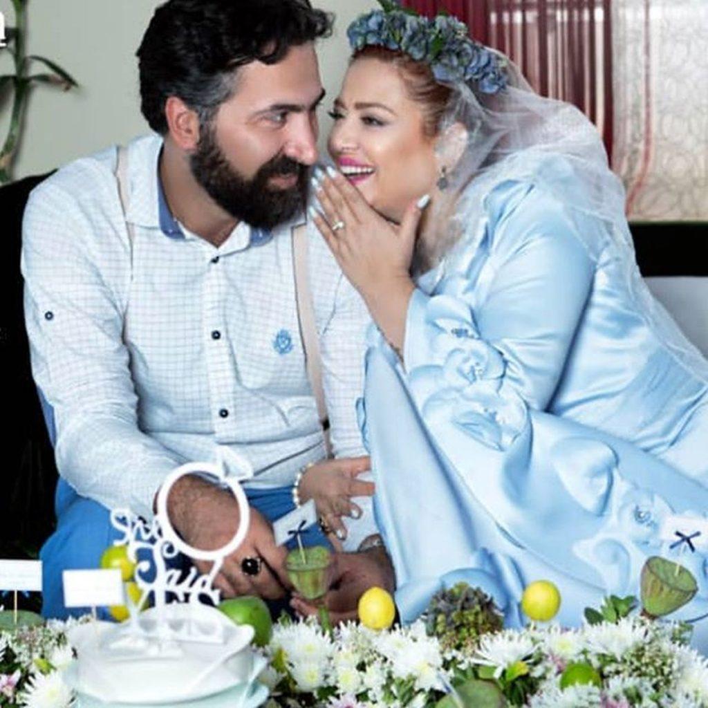 بهاره رهنما با لباس عروسی و همسرش با لباس رسمی - مهریه بهاره رهنما