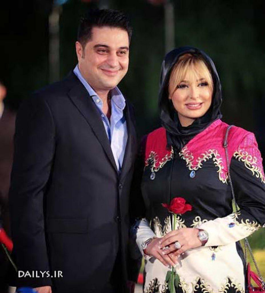 نیوشا ضیغمی با مانتو رنگی و همسرش - مهریه نیوشا ضیغمی