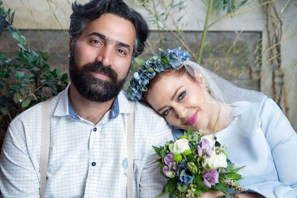 بهاره رهنما با لباس عروسی و همسرش با کت و شلوار رسمی - مهریه بهاره رهنما