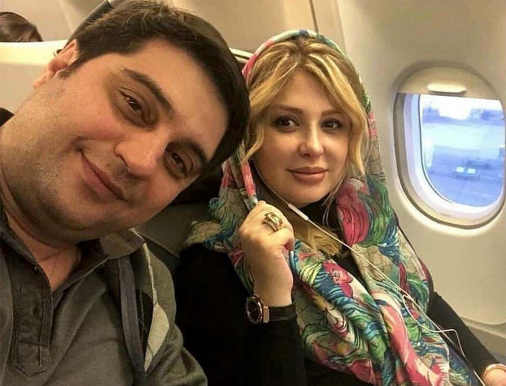 نیوشا ضیغمی با شال گل گلی و همسرش در هواپیما - مهریه نیوشا ضیغمی