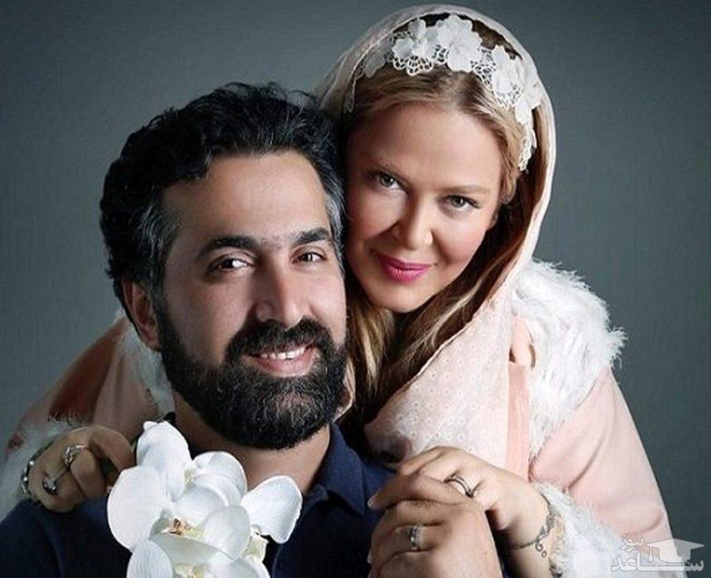 بهاره رهنما با لباس کرم و همسرش با کت و شلوار رسمی - مهریه بهاره رهنما