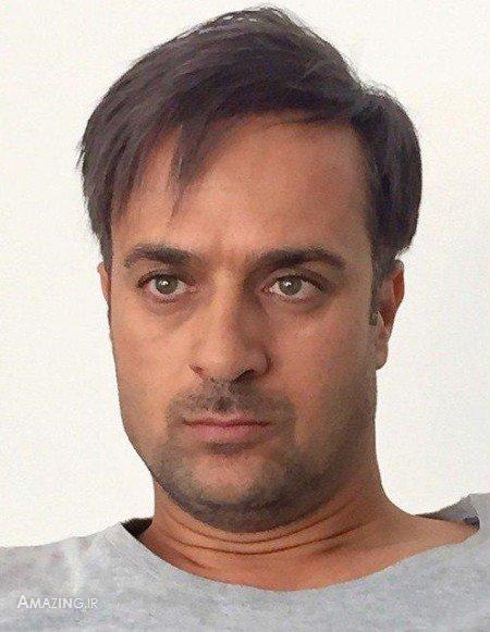 احمد مهرانفر با لباس طوسی - چشمان احمد مهرانفر
