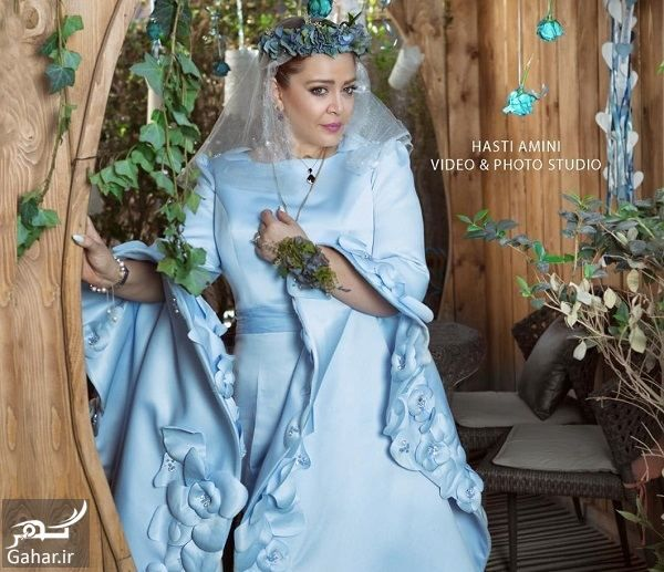 بهاره رهنما با لباس عروسی آبی - مهریه بهاره رهنما