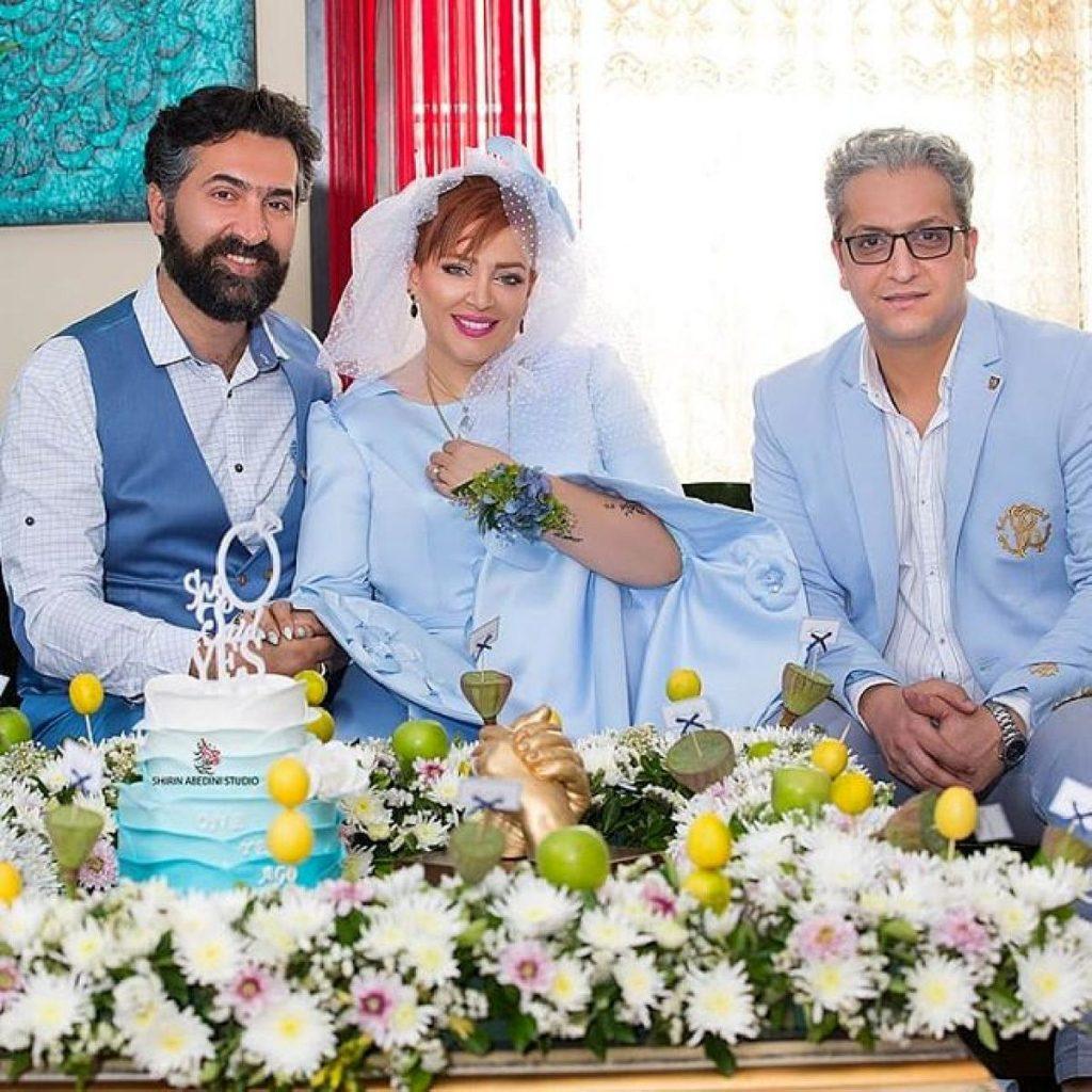 بهاره رهنما با لباس عروسی آبی و همسرش با کت و شلوار رسمی - مهریه بهاره رهنما