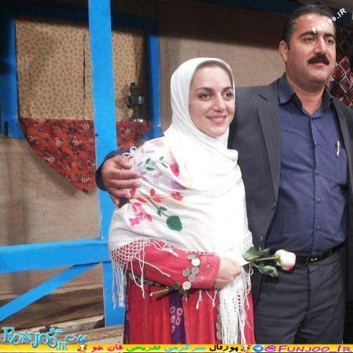 نسرین بابایی بازیگر گیلانی با لباس محلی و همسرش