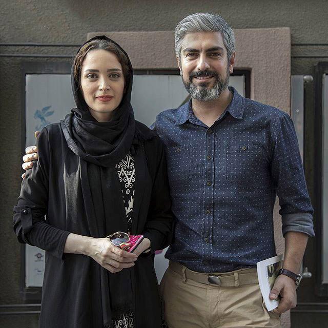 مهدی پاکدل و بهنوش طباطبایی با لباس مشکی