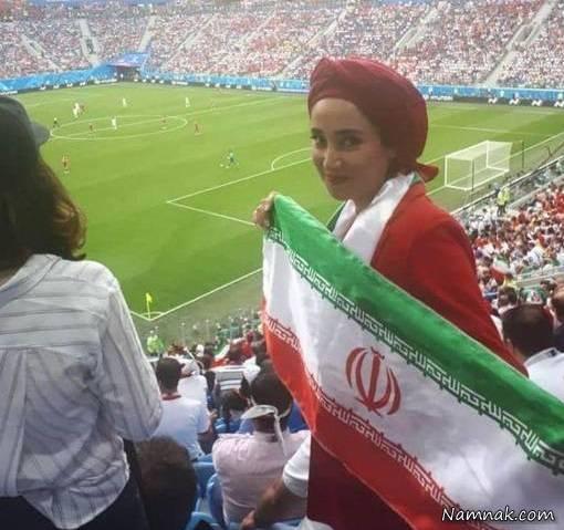 عکس بهاره افشاری در سن پترزبورگ با لباس قرمز و پرچم ایران