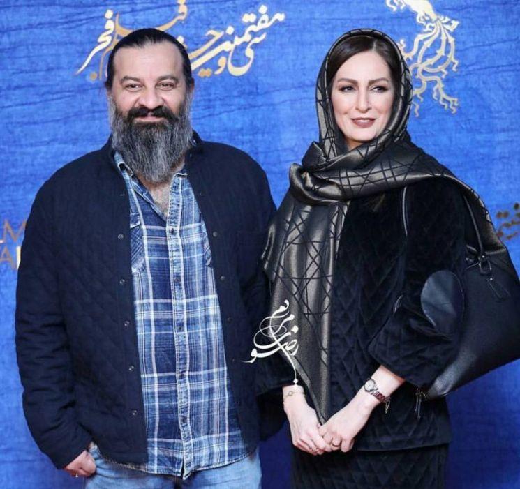 مهراب قاسمخانی و شقایق دهقان با لباس مشکی