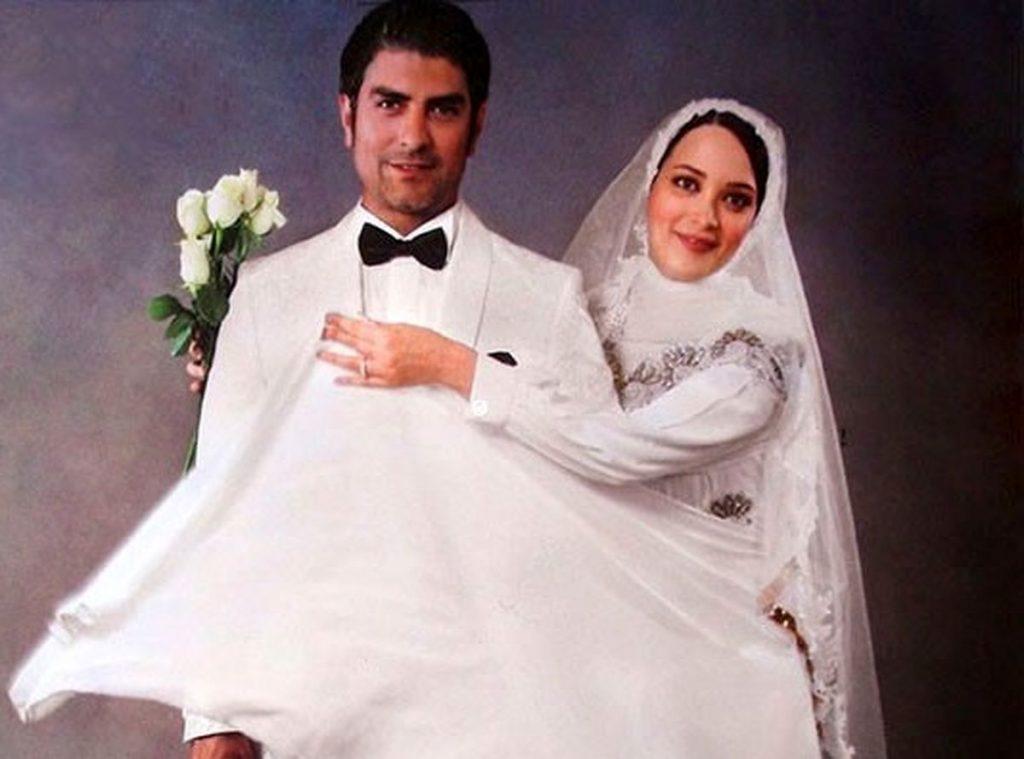 مهدی پاکدل و بهنوش طباطبایی با لباس عروس