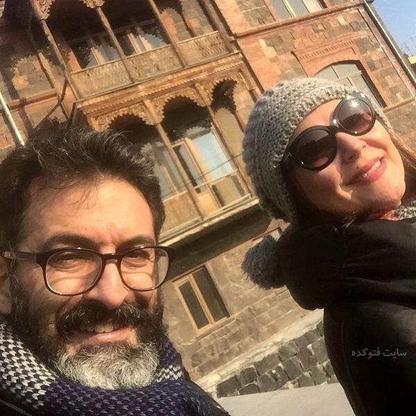 عکس لاله اسکندری در خارج با همسرش