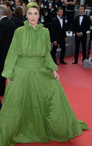 لیلا حاتمی جشنواره کن با لباس سبز