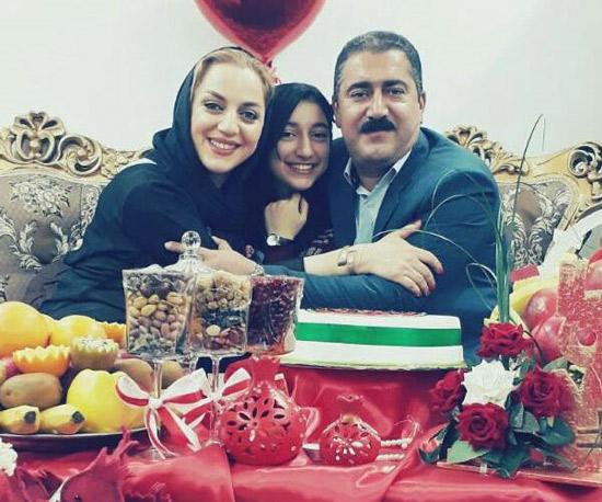 نسرین بابایی بازیگر گیلانی با همسر و دخترش