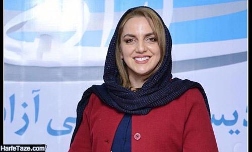 نسرین بابایی بازیگر گیلانی با مانتو قرمز و شال سورمه ای