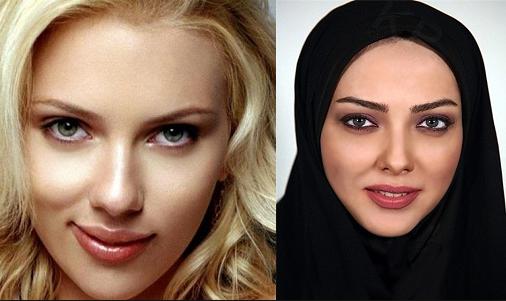 لیلا اوتادی با مقنعه - شباهت لیلا اوتادی و اسکارلت جوهانسون