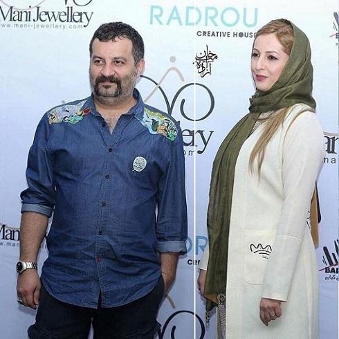 مهراب قاسمخانی و شقایق دهقان با مانتو سفید و شال سبز