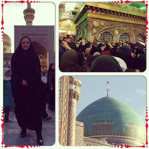 نرگس محمدی با چادر در مشهد